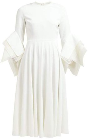 Ayres Folded Sleeve Midi Dress - Womens - Ivory