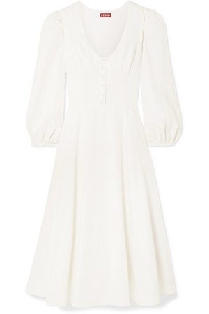 STAUD | Birdie linen-blend midi dress | NET-A-PORTER.COM