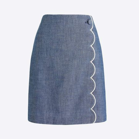 Scalloped-front mini skirt