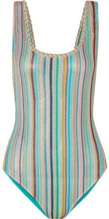 Mare Riga Metallic Crochet-knit Swimsuit - Blue