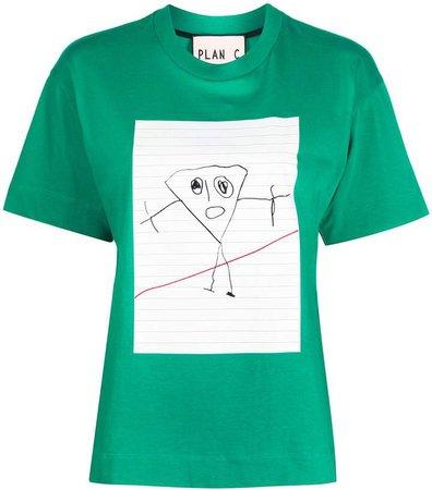 Plan C drawing print T-shirt