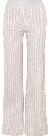 Striped Metallic Knitted Wide-leg Pants - Silver