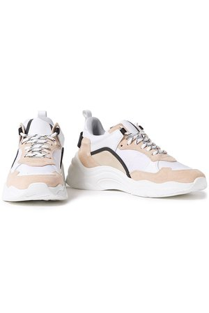 Blush Curverunner color-block leather, canvas and suede sneakers | Sale up to 70% off | THE OUTNET | IRO | THE OUTNET