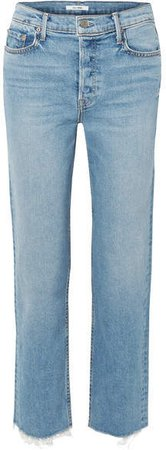 Helena Cropped Frayed High-rise Straight-leg Jeans - Mid denim