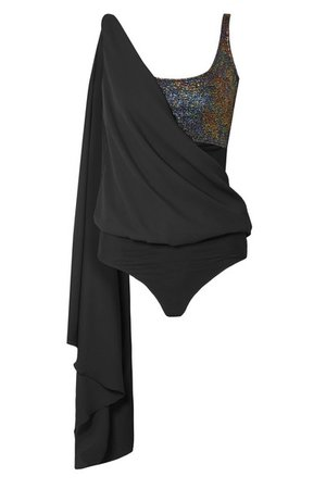 Marika Vera   Cameron draped glittered chiffon thong bodysuit   NET-A-PORTER.COM
