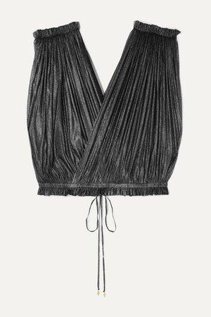 Elena Makri   Antigone cropped pleated metallic silk-tulle wrap top   NET-A-PORTER.COM