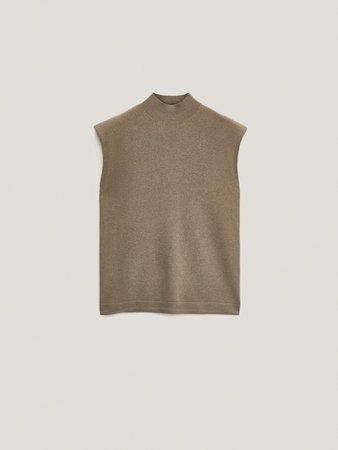 Πλεκτό πουλόβερ από μαλλί και κασμίρι με βάτες - Mulher - Massimo Dutti