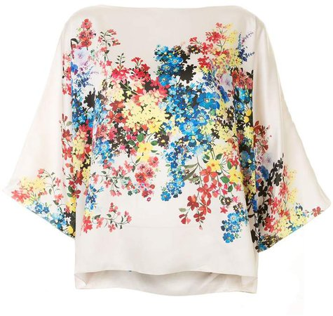 Floral Slash-Neck Top