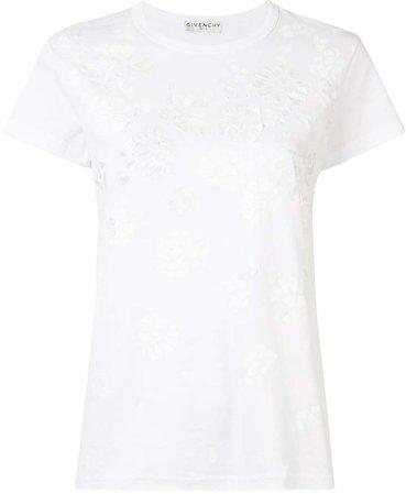 floral applique T-shirt
