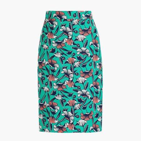 Printed pencil skirt in basketweave
