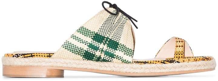 Multicoloured toe strap woven sandals