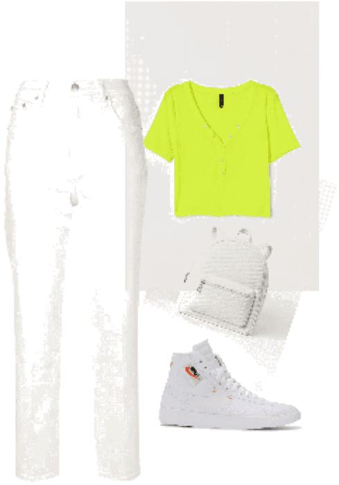Outfit remera verde flúor