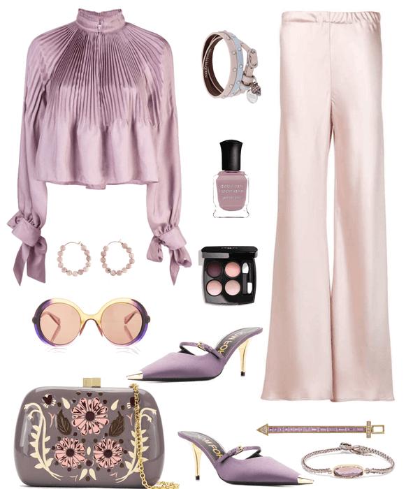 white in Pink satin