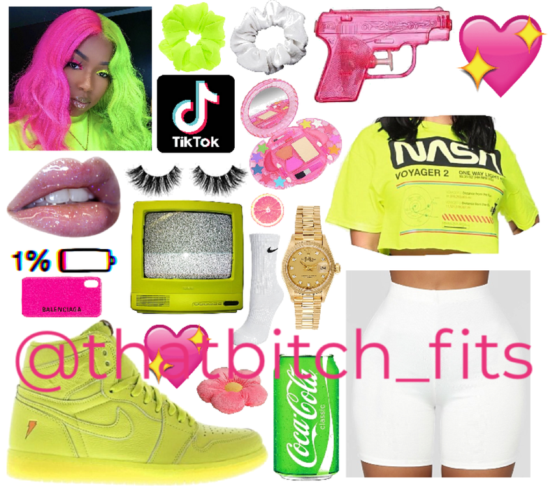 Neon Yellow Hot Pink Crop Fit