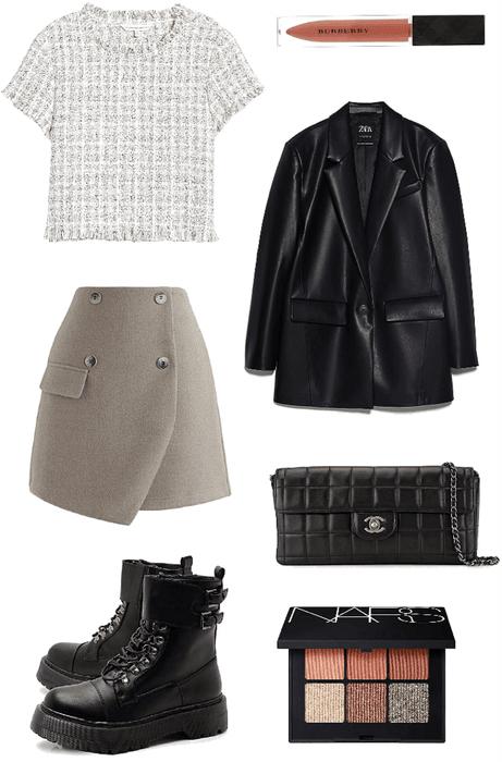 Leather tweed